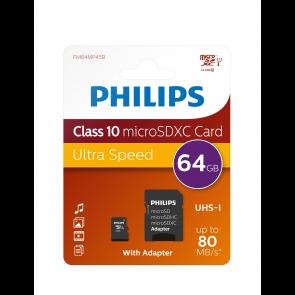 Philips Micro SDCX Card 64GB, adapter