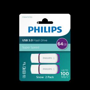 Philips USB flash drive Snow Edition 64Go, USB3.0, 2-pack
